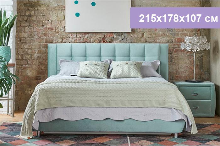 Двуспальная кровать Цвет Диванов Барроу Н мятный 215x178x107 см