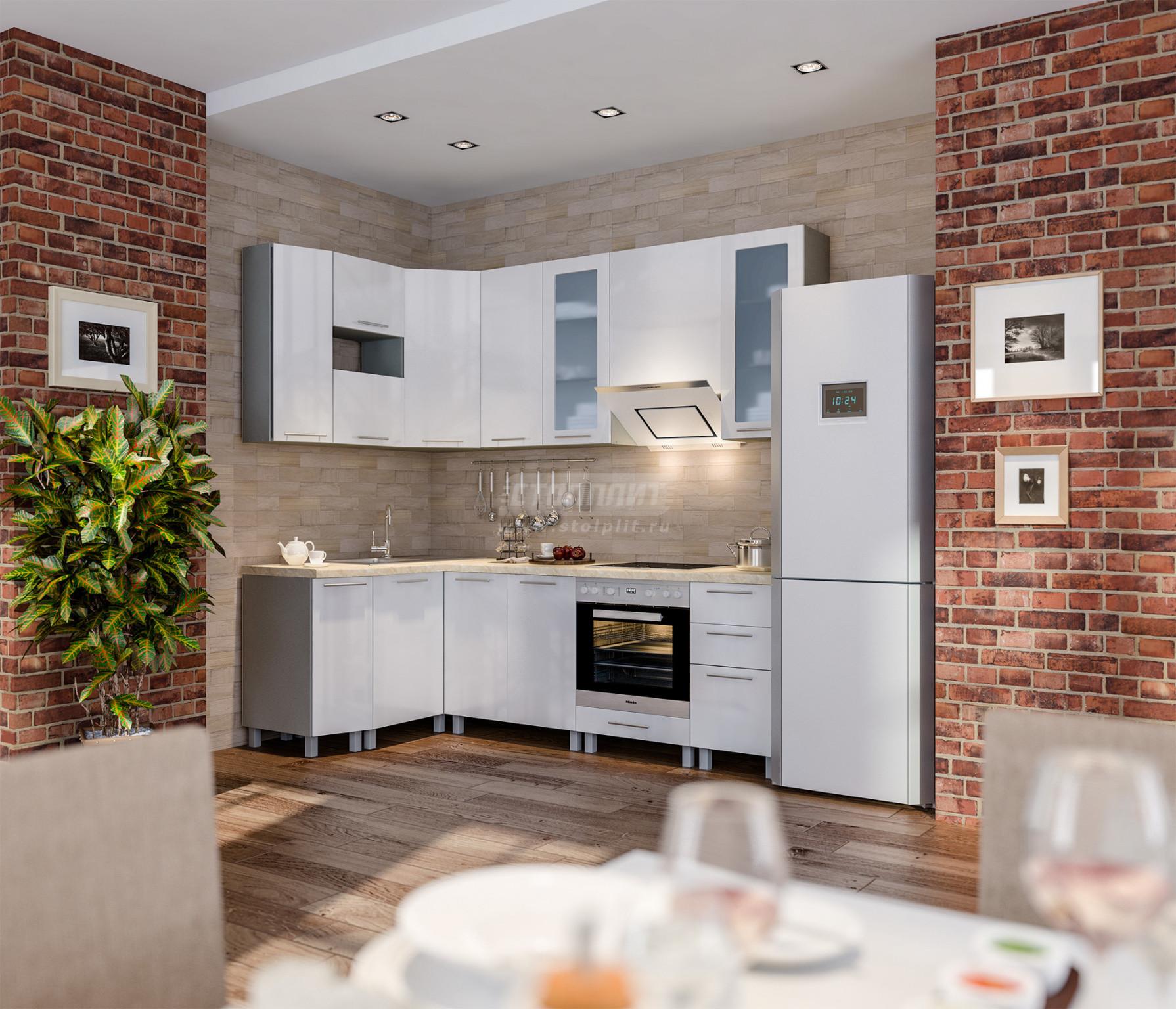 Кухня Столплит Анна алюминий/белый глянец 240x140 см