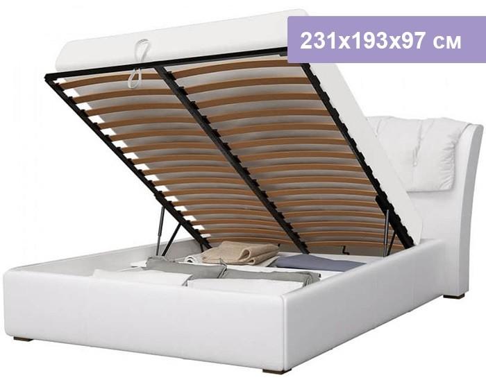 Двуспальная кровать Интердизайн Моника белый/белый 231x193x97 см (подъемный механизм)