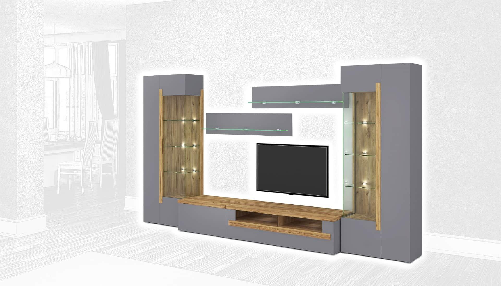 Стенка Интердизайн Дубай светло-коричневый/серый 1990x3650x500 (композиция 3)