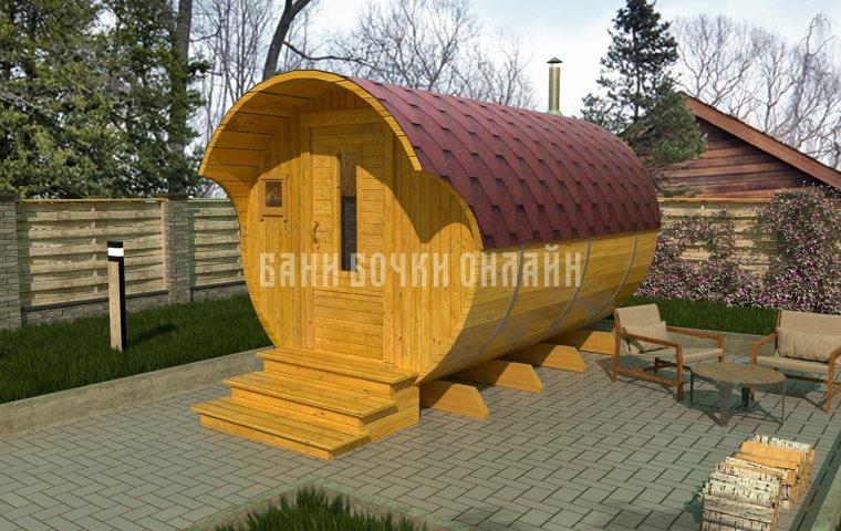 Баня-бочка «Стандарт» 350x200 см (с козырьком)