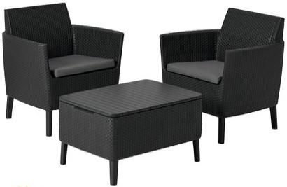 Комплект мебели Allibert Salemo Balcony графитовый/прохладный серый