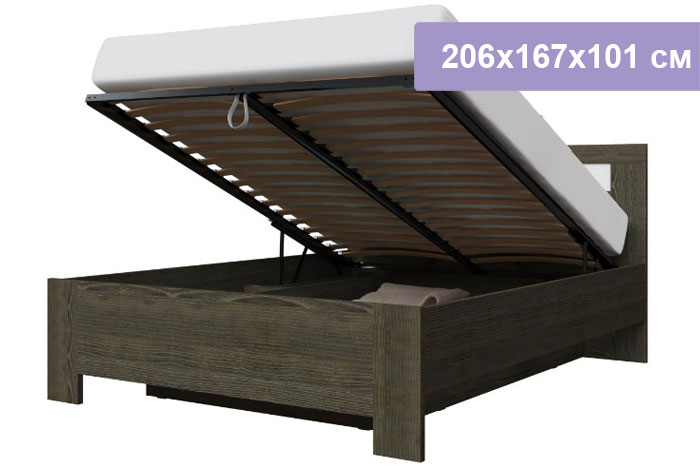 Двуспальная кровать Интердизайн Тоскано Лайт ясень темный/белый 206x167x101 см (подъемный механизм)