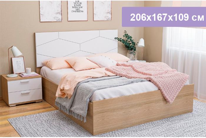 Двуспальная кровать Цвет Диванов Вейла К-39 Дуб каньон светлый 206x167x109 см