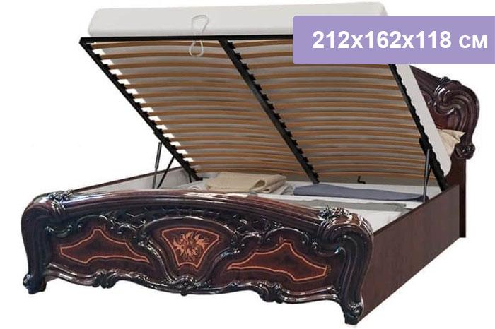 Двуспальная кровать Интердизайн Роза темно-коричневый/темно-коричневый 212x162x118 см (подъемный механизм)