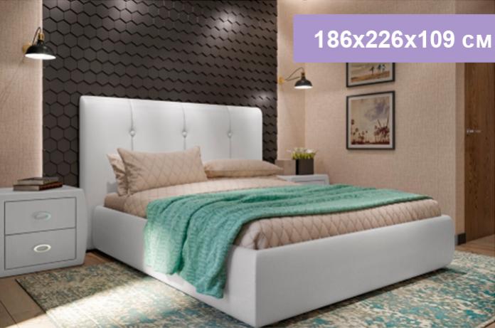 Двуспальная кровать Цвет Диванов Вивьен белый 186x226x109 см