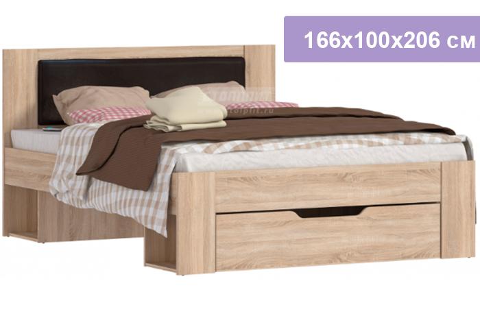Двуспальная кровать Столплит Веста СБ-2324 дуб сонома 166x100x206 см