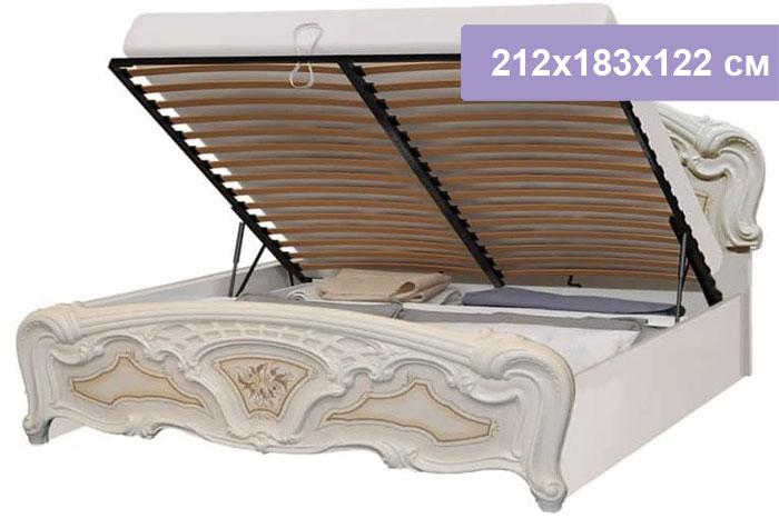 Двуспальная кровать Интердизайн Роза бежевый/бежевый 212x183x122 см (подъемный механизм)