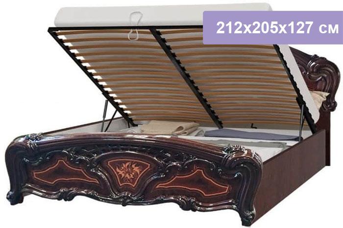 Двуспальная кровать Интердизайн Роза темно-коричневый/темно-коричневый 212x205x127 см (подъемный механизм)