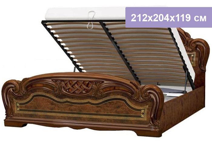 Двуспальная кровать Интердизайн Лара коричневый/коричневый 212x204x119 см (подъемный механизм)