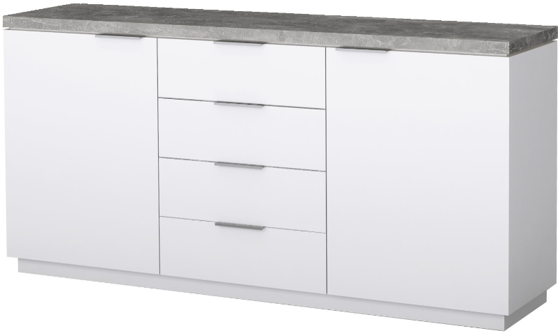 Комод Интердизайн Нексус белый глянец/бетон 88x120x44 см
