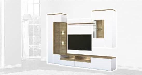 Стенка Интердизайн Тоскано дуб/белый 2000x2906x475 (композиция 1)
