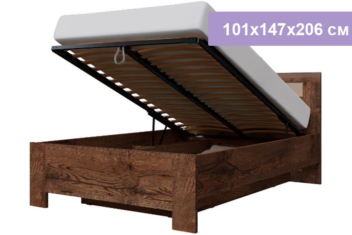 Полутороспальная кровать Интердизайн Тоскано Лайт темно-коричневый/коричневый 101x147x206 см (подъемный механизм)