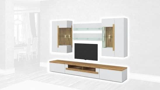 Стенка Интердизайн Дубай светло-коричневый/белый 1990x2900x500 (композиция 4)
