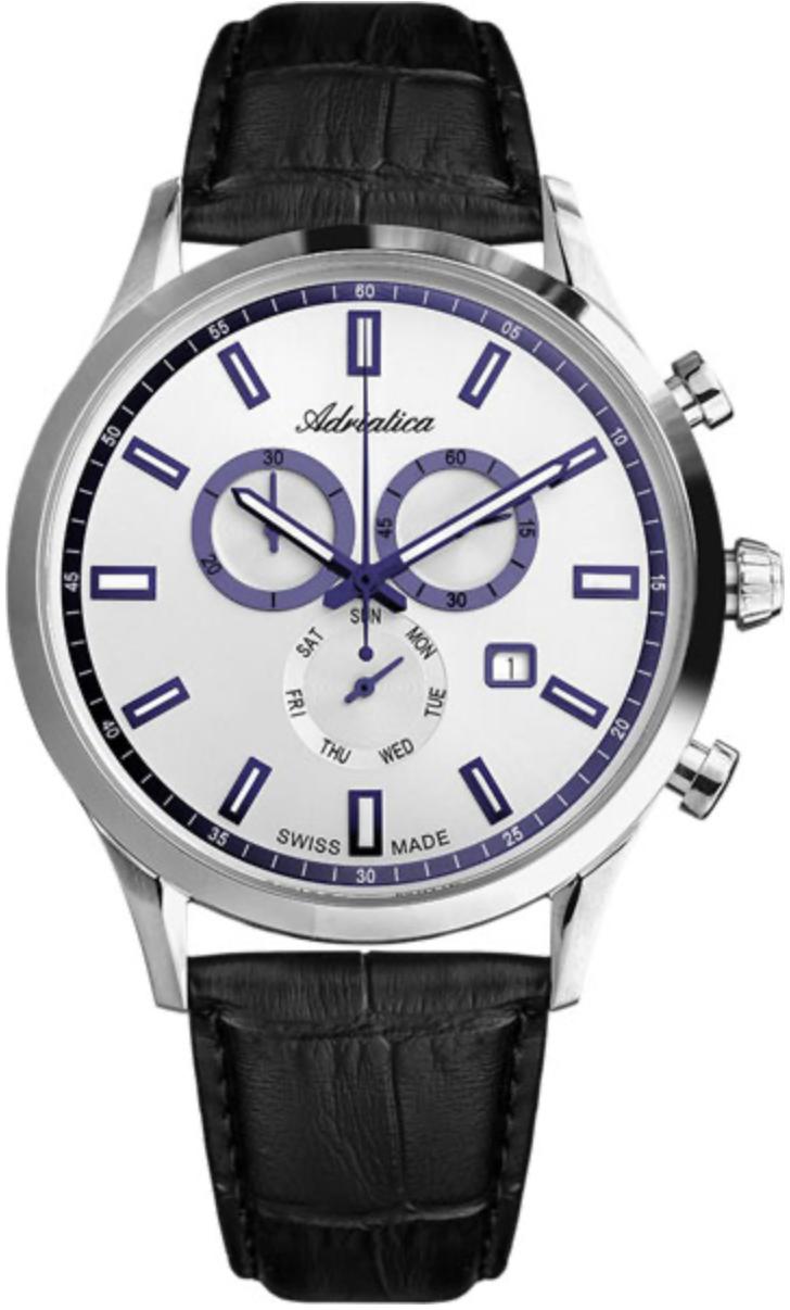 Наручные часы Adriatica Chronographs A8150 серебристый/кожаный