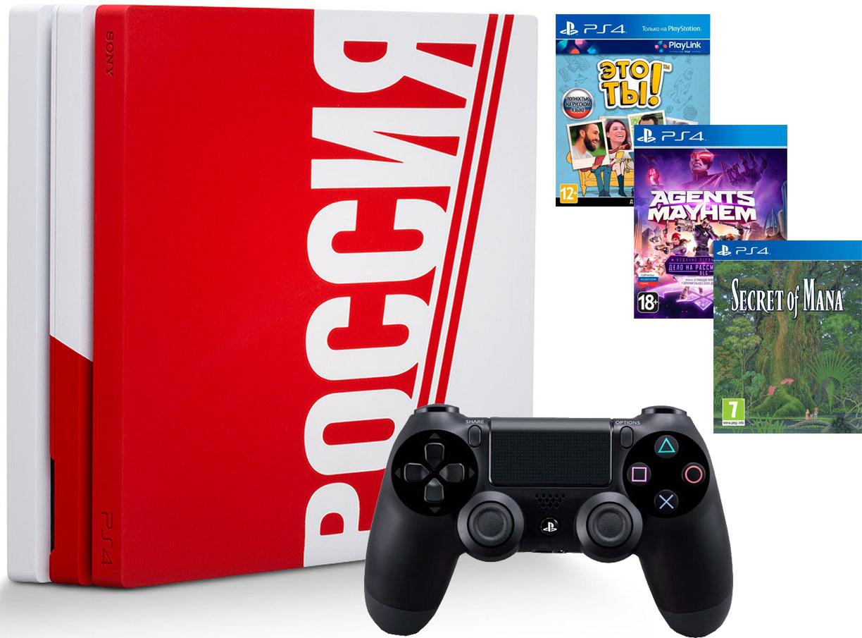 Игровая приставка Sony PlayStation 4 Pro 1Tb Сборная России + Sony DualShock 4 v2 Black + Secret of Mana + Agents of Mayhem + Это ТЫ!