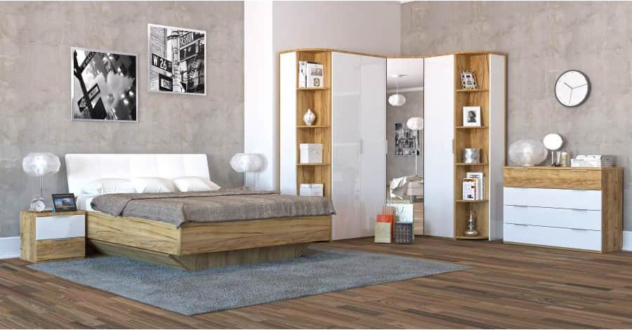 Спальня Интердизайн Тоскано дуб крафт/белый светло-коричневый/белый