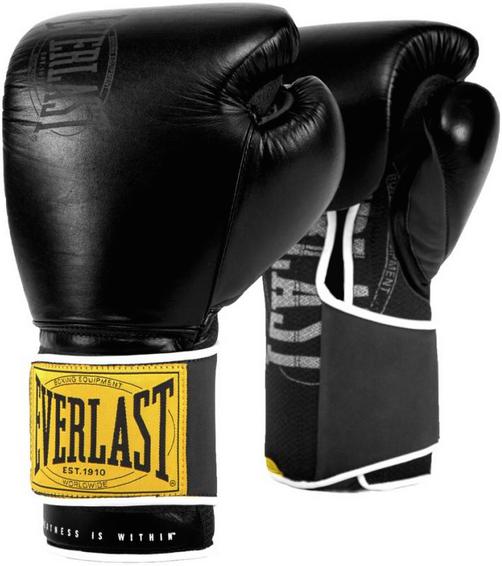 Перчатки Everlast 1910 Classic 12oz Black (на липучке)