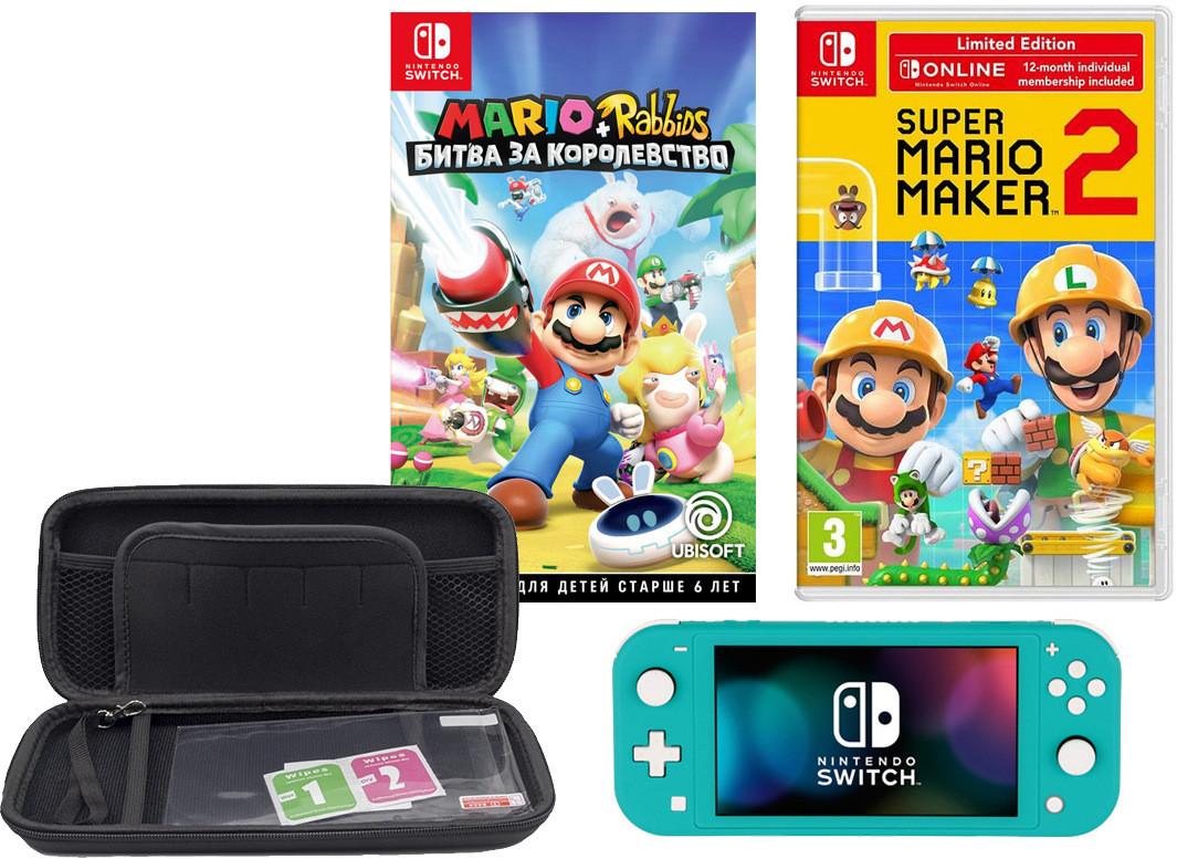 Игровая приставка Nintendo Switch Lite Turquoise + чехол + 2 игры