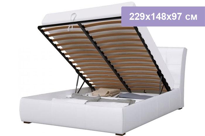 Двуспальная кровать Интердизайн Бьянка белый/белый 229x148x97 см (подъемный механизм)