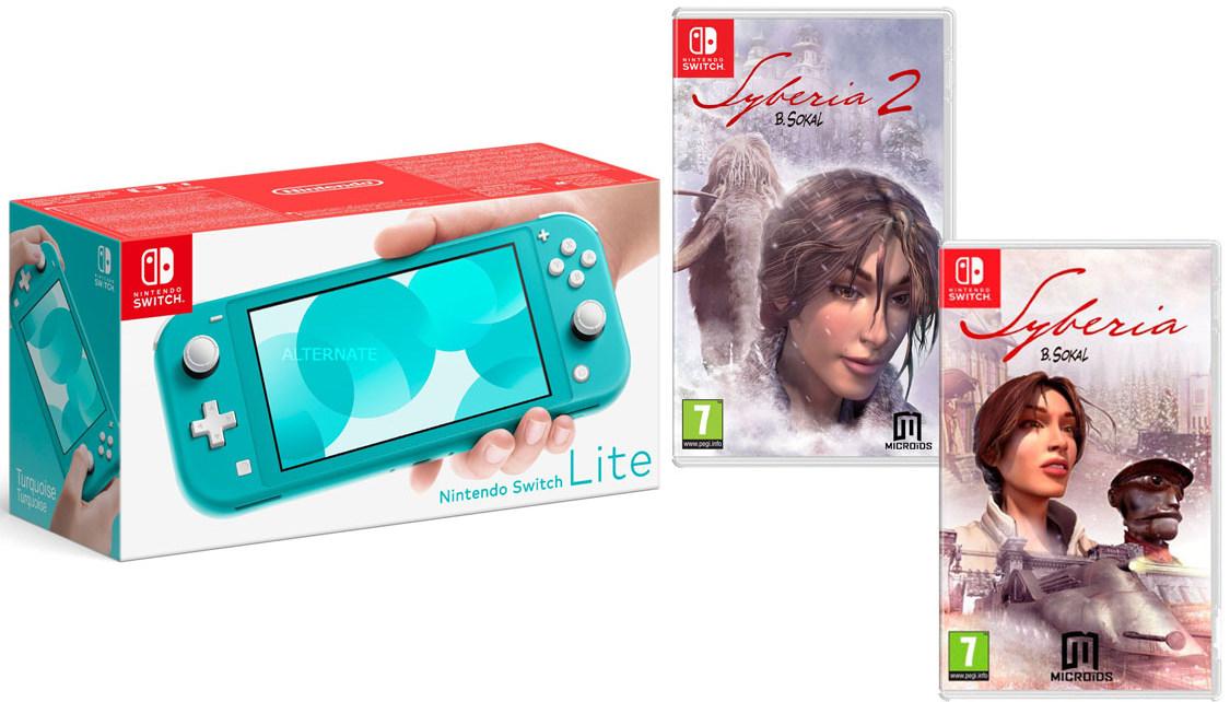 Игровая приставка Nintendo Switch Lite Turquoise + Сибирь 1 + Сибирь 2