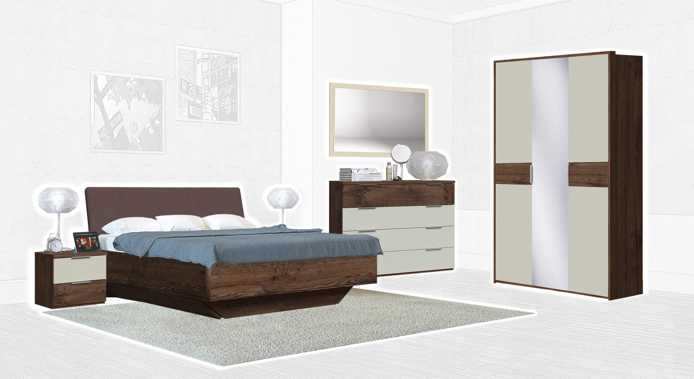 Спальня Интердизайн Тоскано темно-коричневый/бежевый (композиция 3)