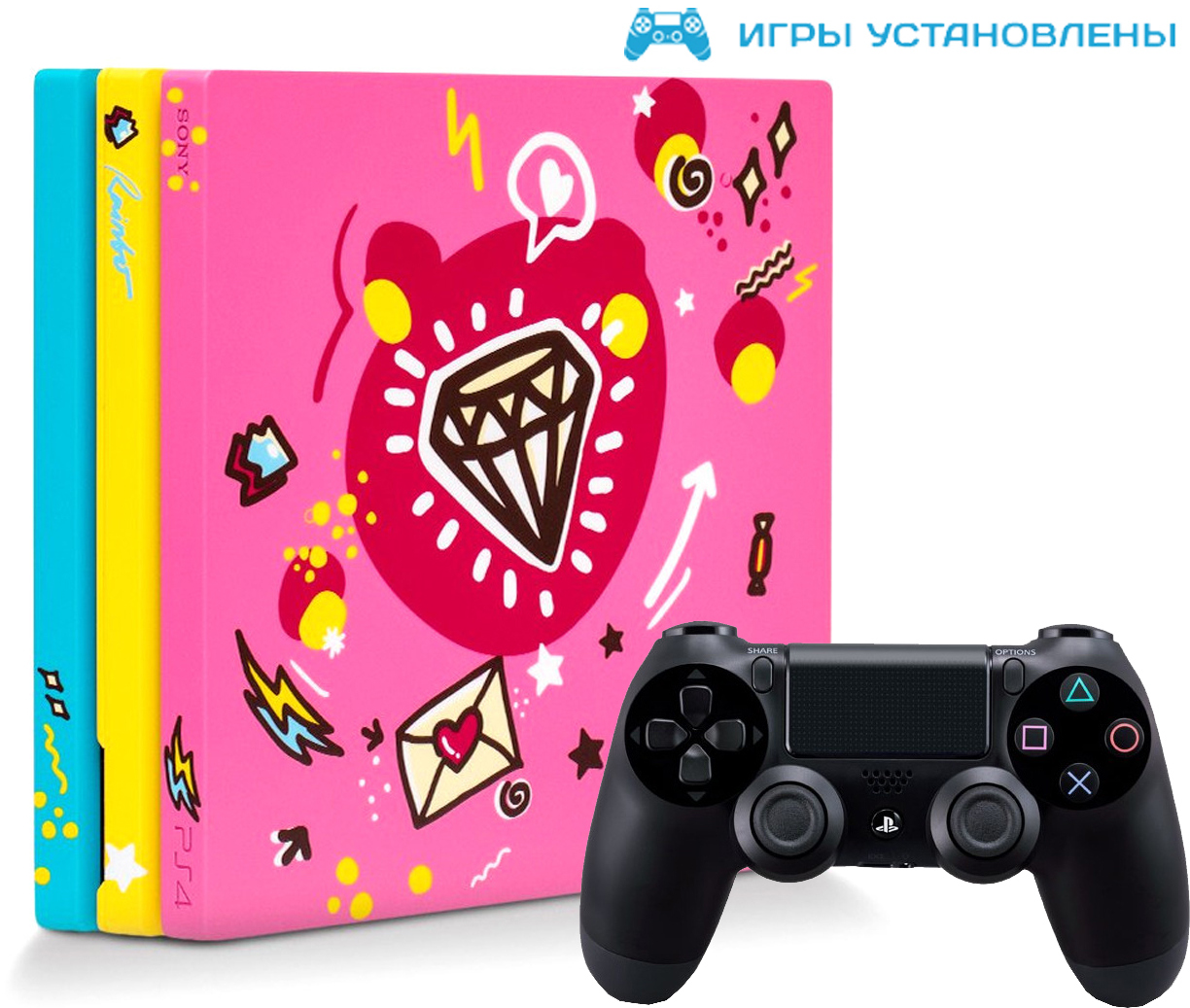Игровая приставка Sony PlayStation 4 Pro 1Tb Sweet + Sony DualShock 4 v2 Black + игры