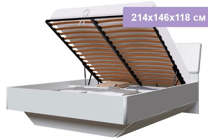 Двуспальная кровать Интердизайн Белла New белый/белый 214x146x118 см (подъемный механизм)