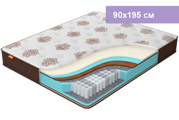 Матрас Орматек Comfort Duos Middle/Hard коричневый 90х195 см
