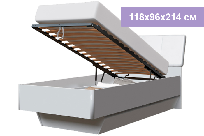 Односпальная кровать Интердизайн Белла New белый/белый 118x96x214 см (подъемный механизм)