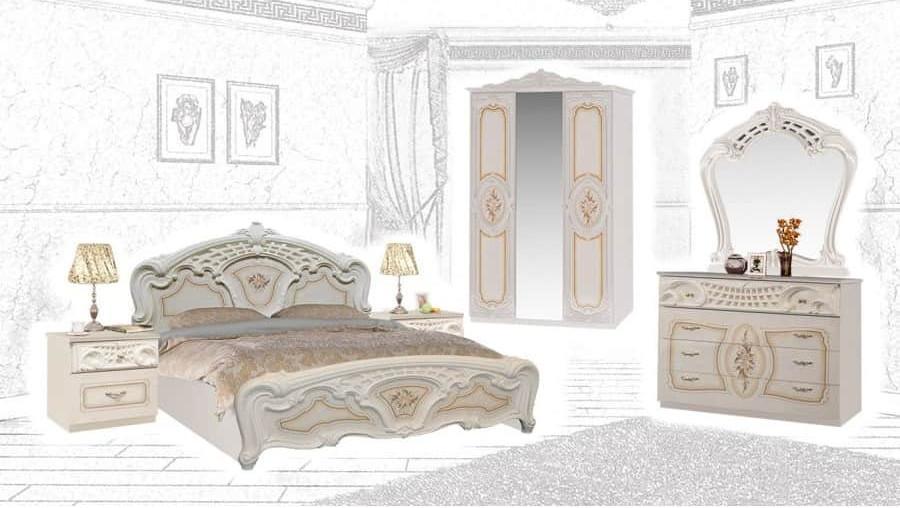 Спальня Интердизайн Роза бежевый/бежевый (композиция 3)