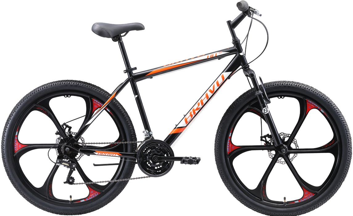 """Велосипед Bravo Hit 26 D FW (2020) черный/оранжевый/белый 26""""/18"""""""