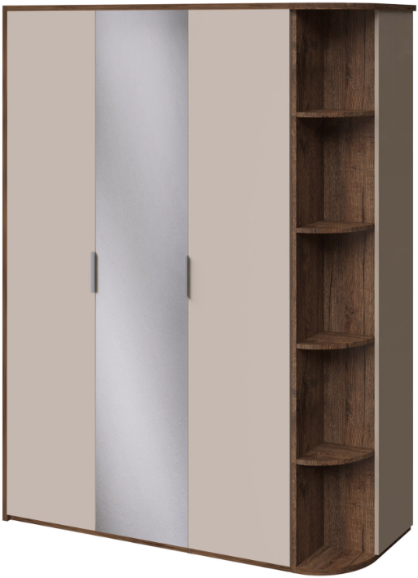 Шкаф Интердизайн Тоскано 32.30.OaC дуб эйприл/капучино 221x162x60 см (зеркало, стеллаж)