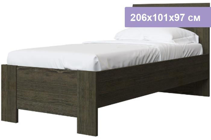 Односпальная кровать Интердизайн Тоскано Лайт ясень темный/белый 206x101x97 см