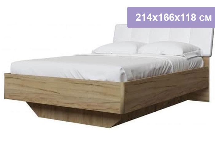Двуспальная кровать Интердизайн Тоскано дуб крафт/белый 214x166x118 см (ортопедическое основание)