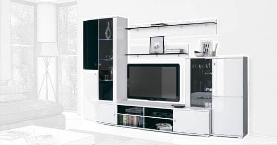Стенка Интердизайн Монако черный/белый 2020x2984x550 (композиция 2)