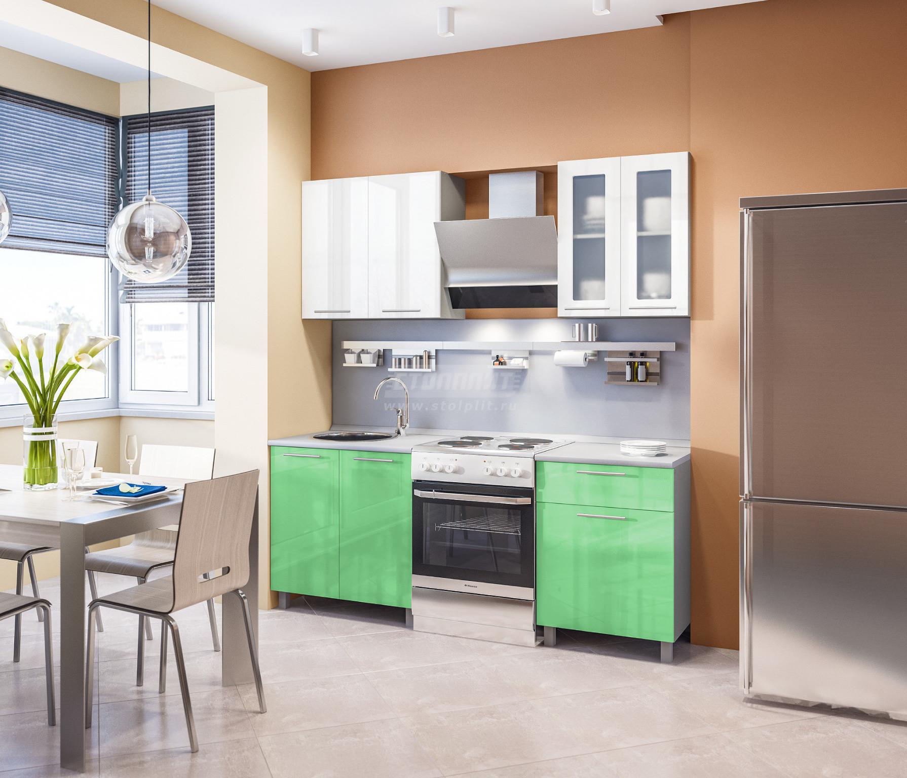 Кухня Столплит Анна L-2000 алюминий/белый глянец/эвкалипт глянец 140x214x60 см
