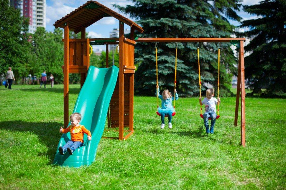 Игровой комплекс Jungle Gym Cottage + Rock + Swing (380x240x257 см)