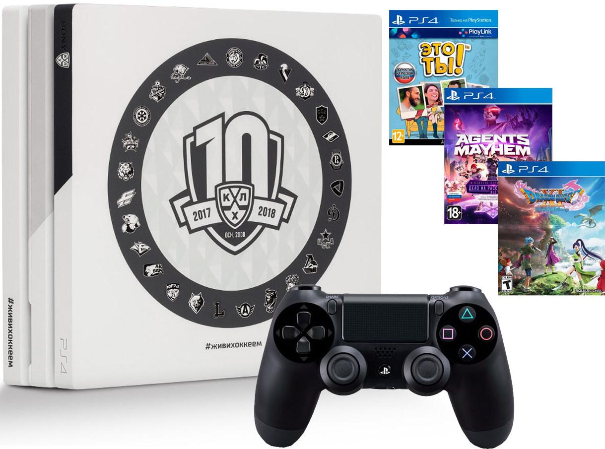 Игровая приставка Sony PlayStation 4 Pro 1Tb КХЛ 10 сезон + Sony DualShock 4 v2 Black + 3 игры