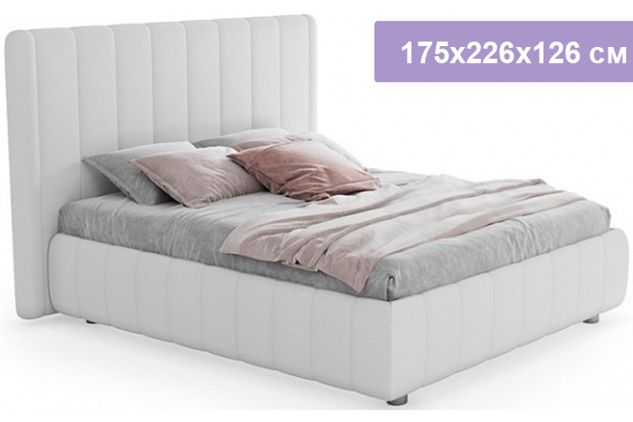 Двуспальная кровать Цвет Диванов Наоми белый 175x226x126 см (подъемный механизм)