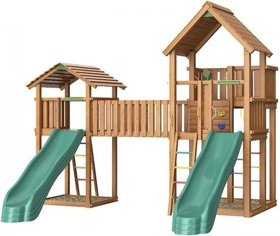 Игровой комплекс Jungle Gym Palace + Bridge Link + Cottage