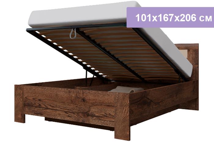 Полутороспальная кровать Интердизайн Тоскано Лайт темно-коричневый/коричневый 101x167x206 см (подъемный механизм)