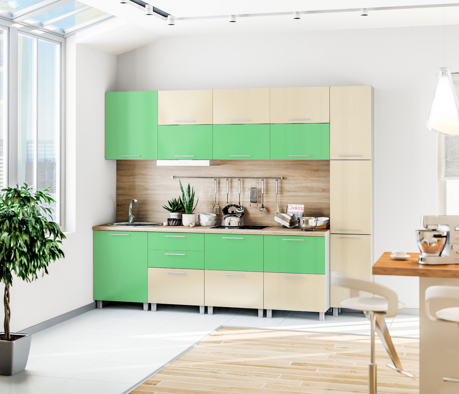 Кухня Столплит Анна L-2800 эвкалипт/ваниль