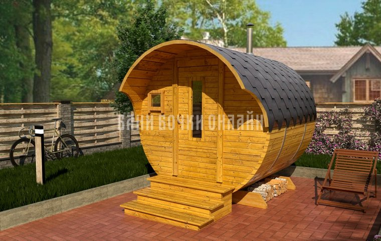 Баня-бочка «Мини» 250x200 см (с козырьком)