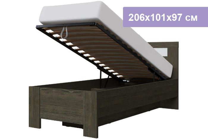 Односпальная кровать Интердизайн Тоскано Лайт ясень темный/белый 206x101x97 см (подъемный механизм)
