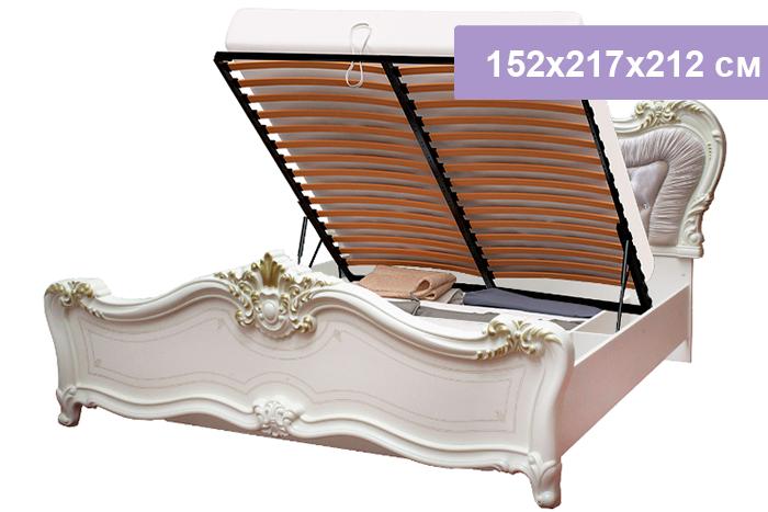 Двуспальная кровать Интердизайн Афродита бежевый/бежевый 152x217x212 см (подъемный механизм)