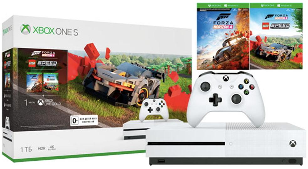 Игровая приставка Microsoft Xbox One S 1Tb White + Forza Horizon 4 + Lego Speed Champions