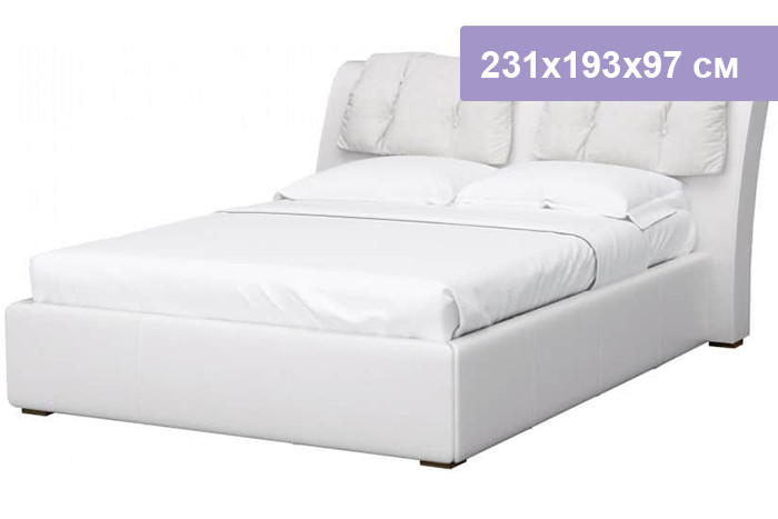 Двуспальная кровать Интердизайн Моника белый/белый 231x193x97 см (ортопедическое основание)