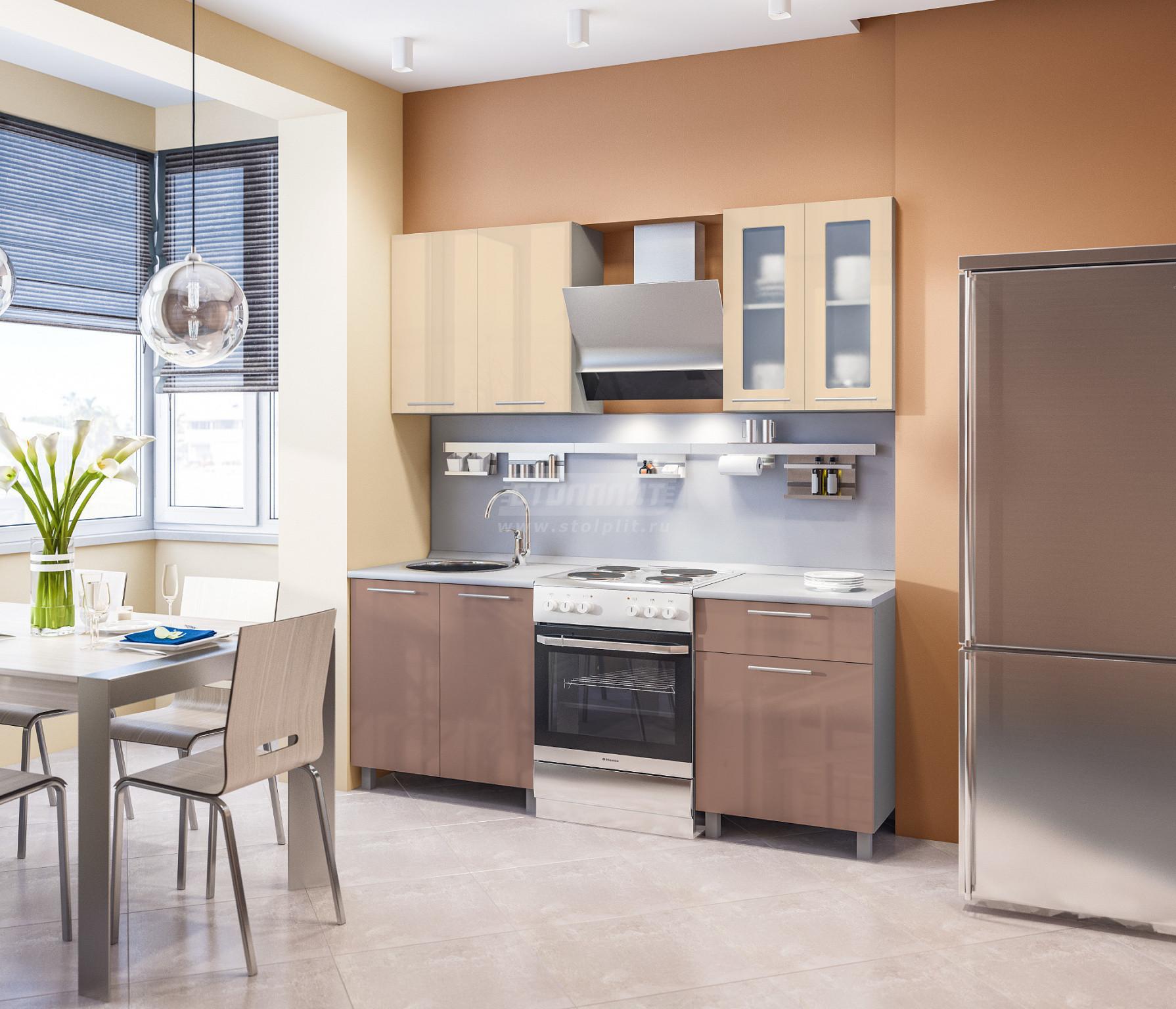 Кухня Столплит Анна L-2000 алюминий/ваниль глянец/капучино глянец 140x214x60 см