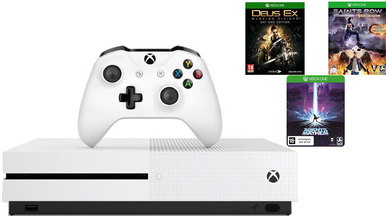 Игровая приставка Microsoft Xbox One S 1Tb White + 3 игры